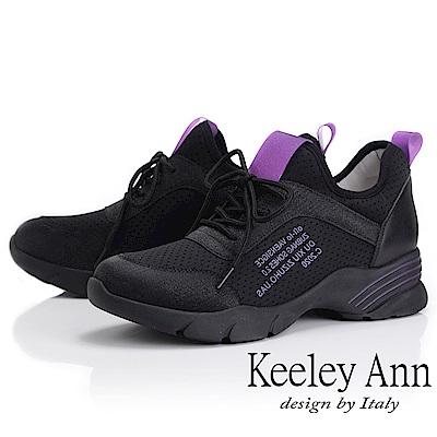 Keeley Ann 輕運動潮流 膠片透氣網英文字母休閒鞋(黑色-Ann)