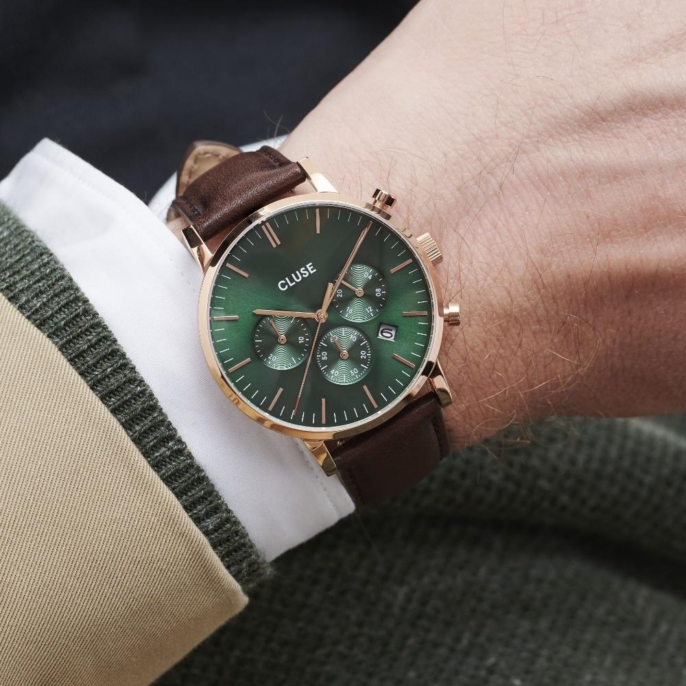 CLUSE Aravis Chrono男款三眼錶(玫瑰金框/綠錶面/咖啡色皮錶帶)40mm