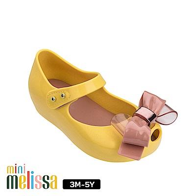 Melissa 金屬蝴蝶結魚口娃娃鞋(寶寶款)-黃