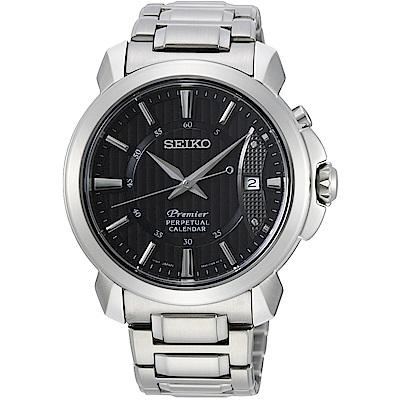 SEIKO精工 Premier 藍寶石水晶萬年曆腕錶(SNQ159J1)-黑/41.5mm