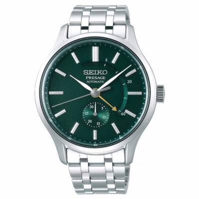 SEIKO 精工 Presage動力儲存顯示機械手錶SSA397J1-綠X銀/42mm