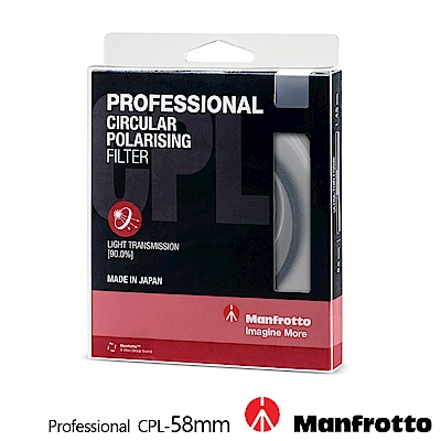 Manfrotto 58mm CPL鏡 Professional濾鏡系列