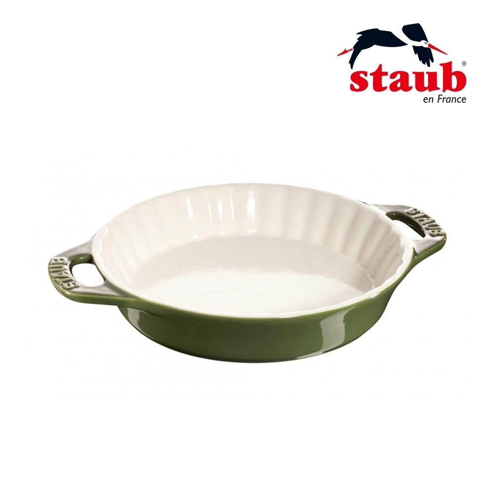 法國Staub 陶瓷雙把波浪烤盤 24cm 羅勒綠