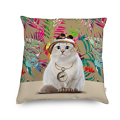法國數位藝廊-貓咪抱枕/靠墊-探險貓(米白)-含芯/40x40