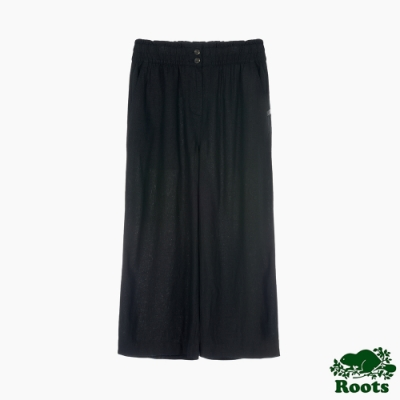 Roots 女裝- 摩登週間系列 高腰鬆緊褲頭亞麻寬褲-黑色