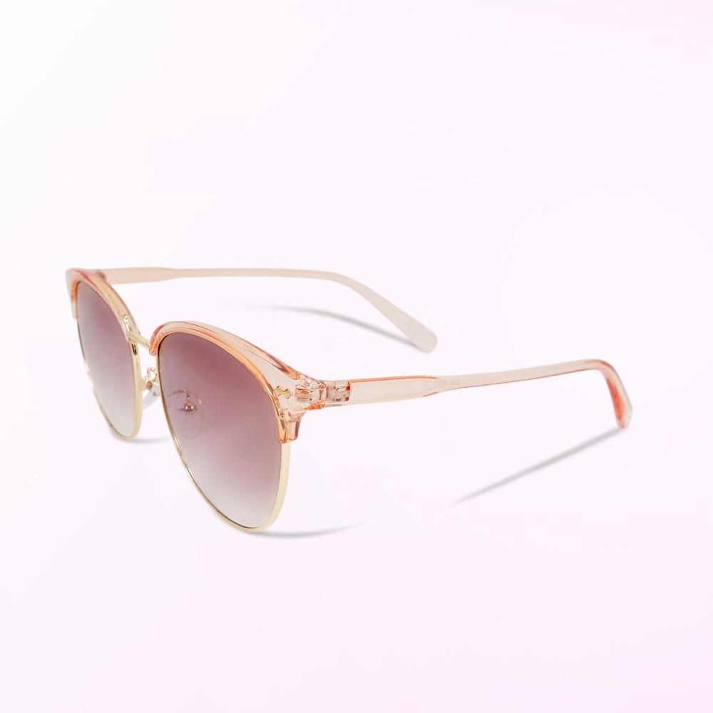 ALEGANT透視粉色漸層棕眉框墨鏡│UV400太陽眼鏡│人魚公主的初吻