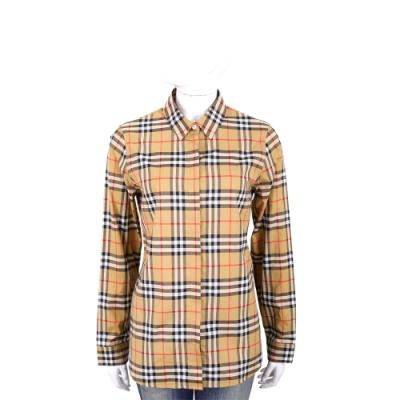 BURBERRY Vintage 格紋棉質寬版襯衫(古典黃)