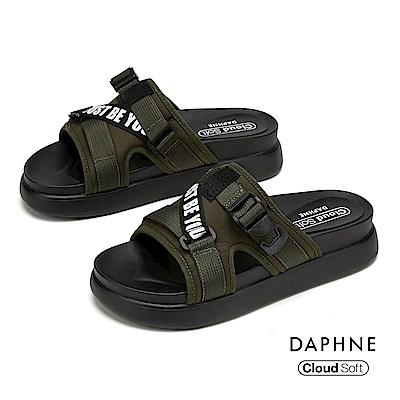 達芙妮DAPHNE 涼鞋-個性潮流街頭字母標語舒適厚底拖鞋-軍綠