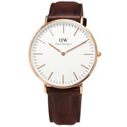DW Daniel Wellington 經典旗艦聖安德魯皮革腕錶-白x玫瑰金/40mm