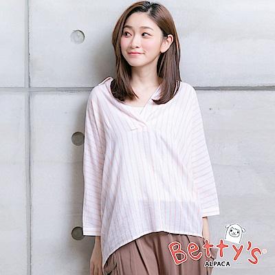 betty's貝蒂思 半開襟條紋寬鬆襯衫(淺桔)