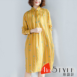 圓領豎條紋拼接蝴蝶長袖洋裝 (共二色)-4inSTYLE形設計