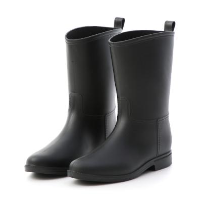 D+AF 悠遊雨天.素面百搭中筒雨靴*黑