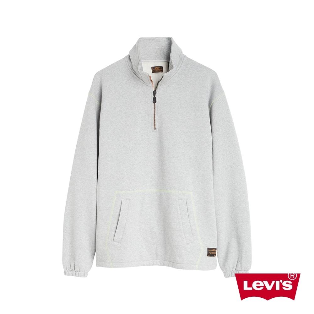 Levis 男款 工裝口袋大學T 滑板系列 拉鍊小立領設計