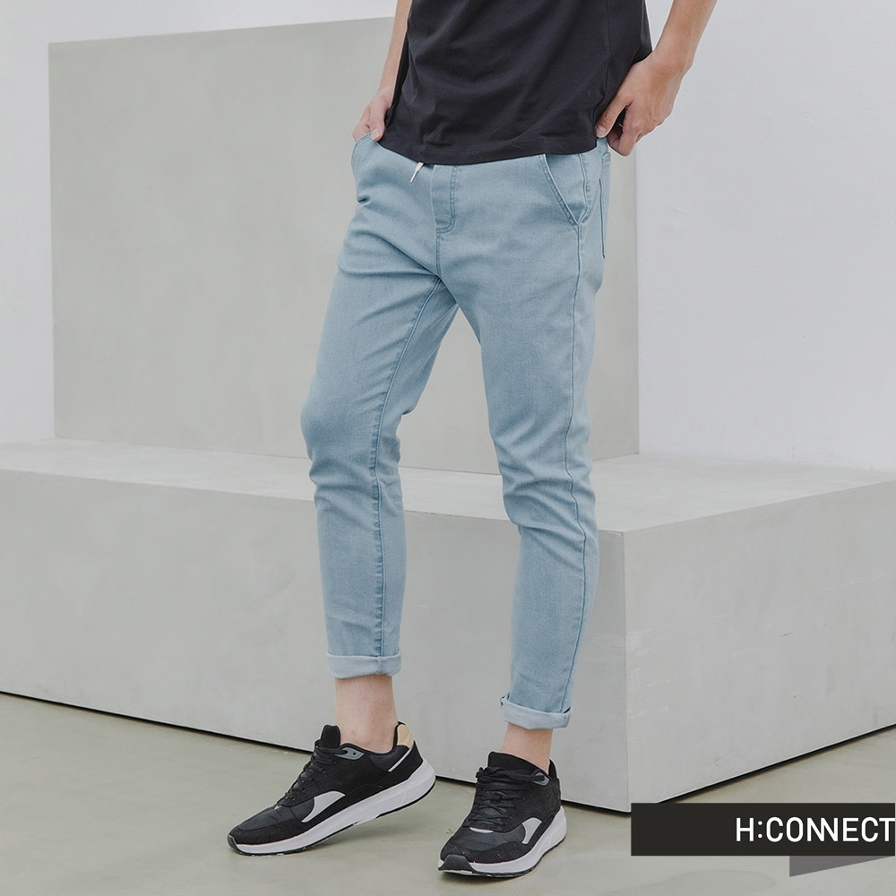 H:CONNECT 韓國品牌 男裝 -素面抽繩縮口褲-藍