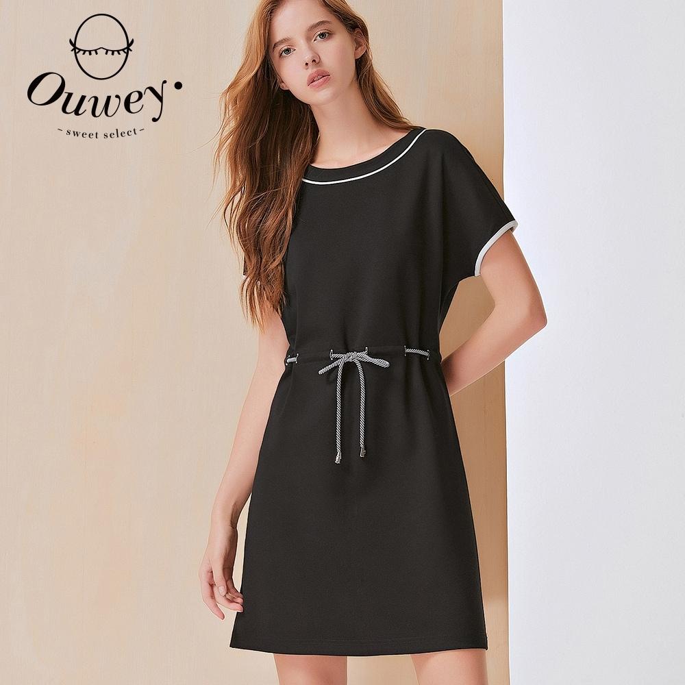 OUWEY歐薇 時尚彈性抽繩簡約風連身裙(黑)3212167009