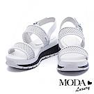 涼鞋 MODA Luxury 運動風撞色沖孔牛皮厚底涼鞋-白