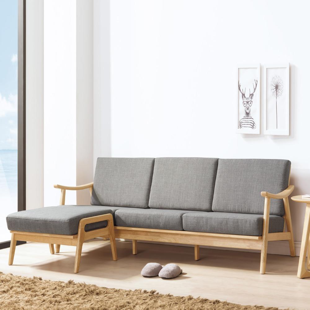 AS-瑞恩灰布原木L型椅組
