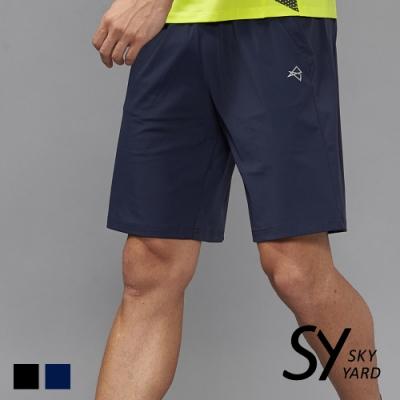 【SKY YARD 天空花園】素色立體剪裁運動短褲-黑色