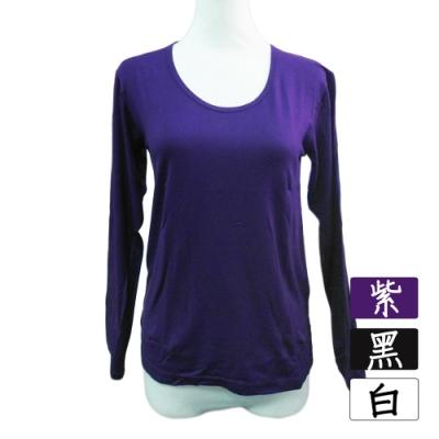 高級女絨毛保暖衣-圓領-818-紫色/白色/黑色-4件入