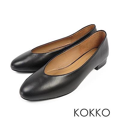 KOKKO - 蒙布朗之約手工全真皮平底鞋-天鵝黑