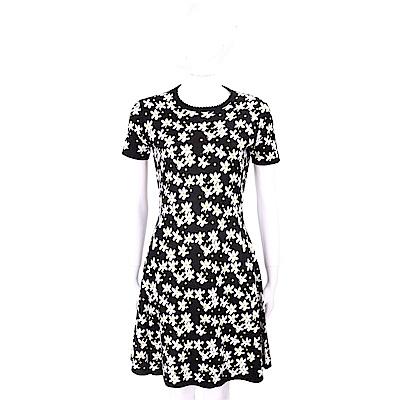 KENZO 棉質滿版花朵黑色針織洋裝