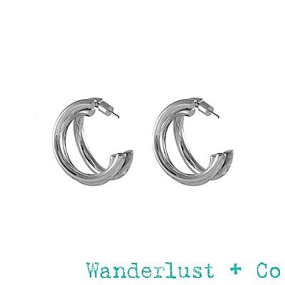 Wanderlust+Co Infusion系列 Faye三環耳環 銀色