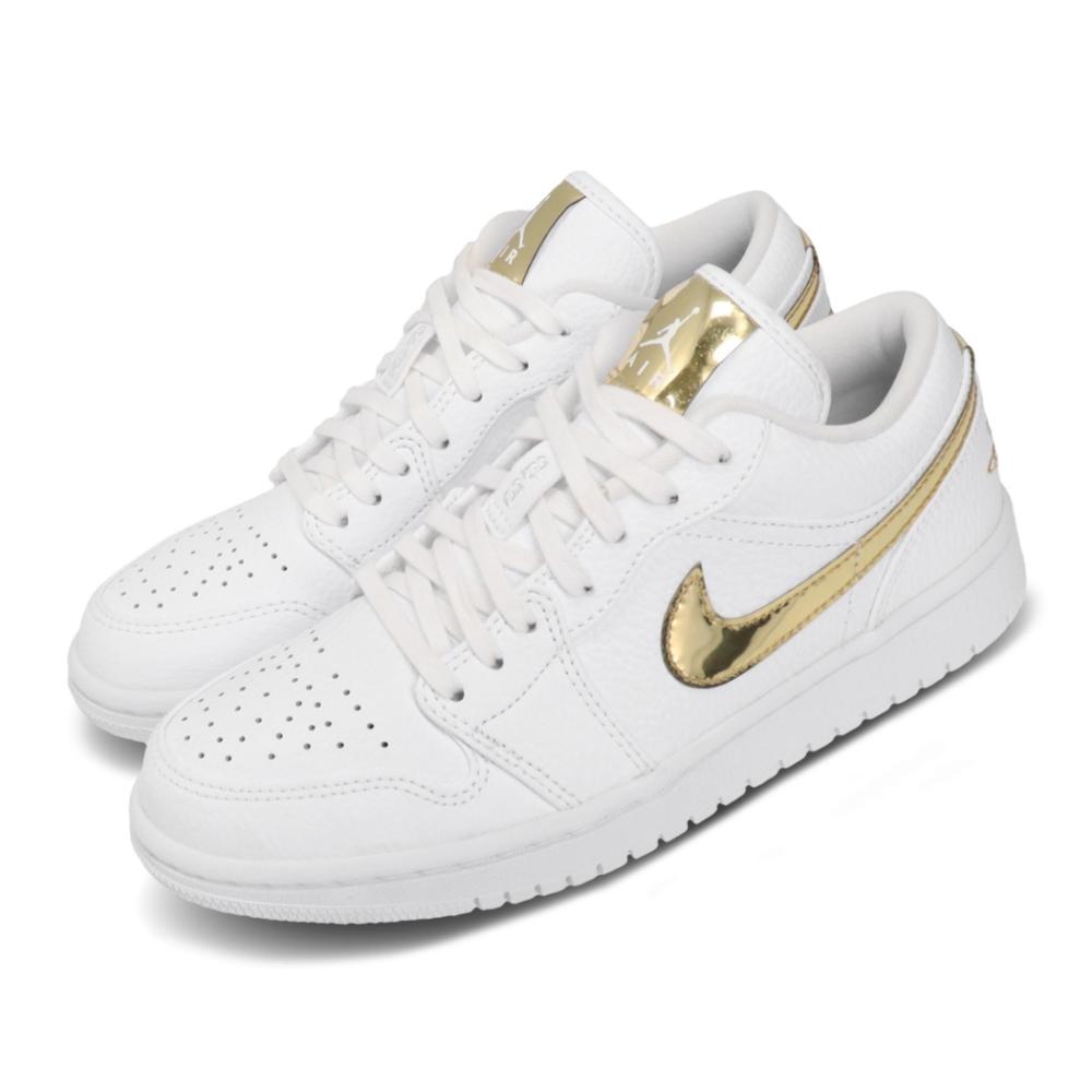 Nike 休閒鞋 Air Jordan 1 Low 男女鞋 經典 AJ1 喬丹 簡約 情侶穿搭 皮革 白 金 CZ4776100