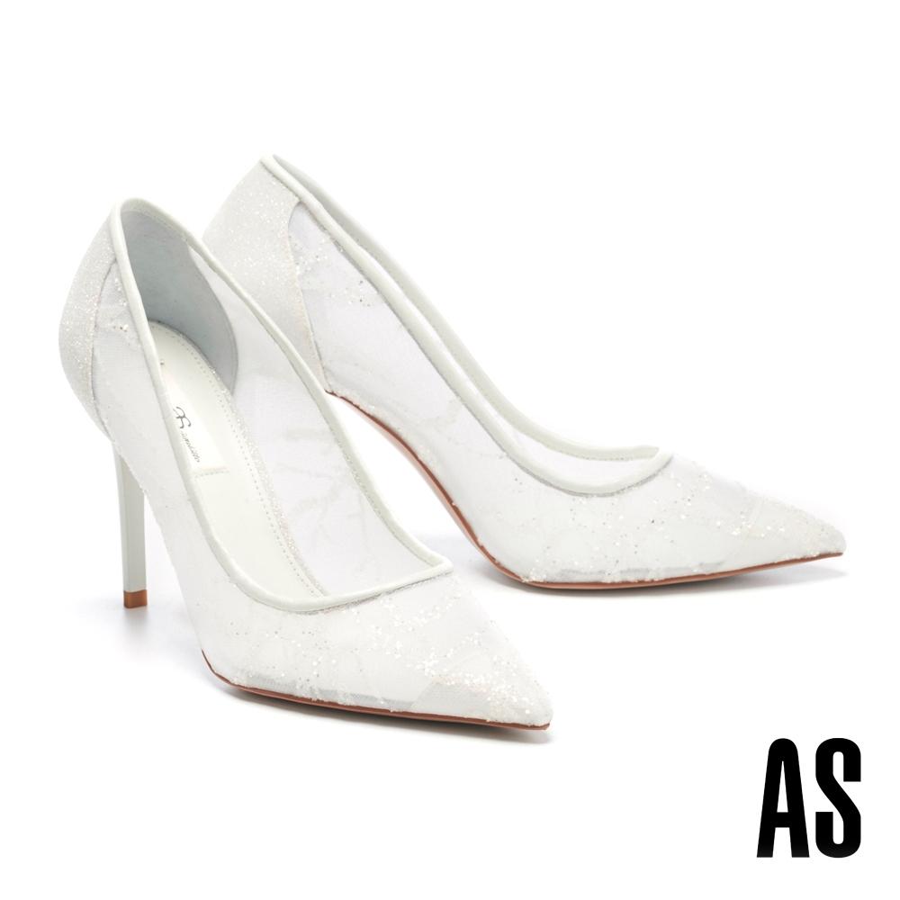 高跟鞋 AS 浪漫唯美鏤空美型尖頭高跟鞋-白