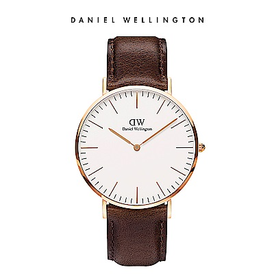 DW 手錶 官方旗艦店 40mm玫瑰金框 Classic 深棕真皮皮革錶