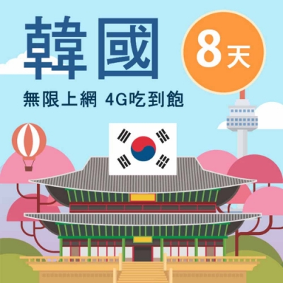 【Smart Go】韓國 網卡 8日 4G 不降速 上網 吃到飽 上網 SIM卡