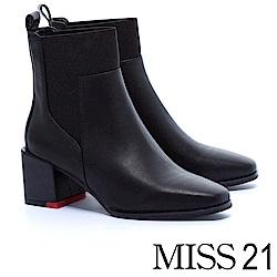 短靴 MISS 21 摩登俐落牛皮拼接鬆緊帶方頭粗跟短靴-黑