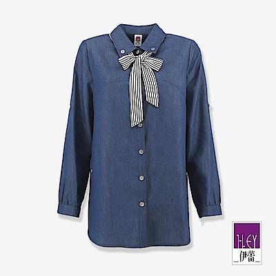 ILEY伊蕾 條紋領帶牛仔長版上衣(藍)
