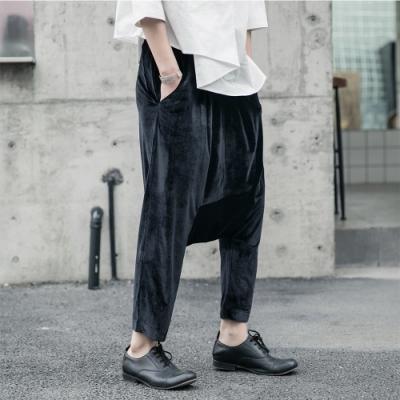 設計所在Style-暗黑風韓國絨光面寬鬆哈倫吊襠九分褲