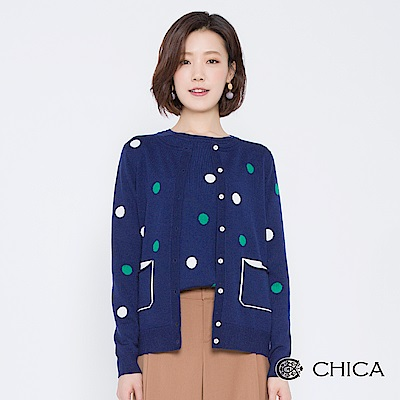 CHICA 青春手札配色圓點口袋針織外套(2色)