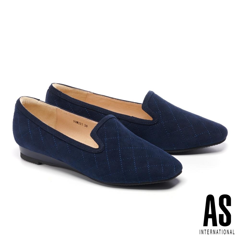 低跟鞋 AS 菱格車線羊麂皮舒適樂福楔型低跟鞋-藍