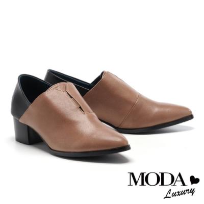 高跟鞋 MODA Luxury 極簡內斂拼接設計全真皮高跟鞋-咖