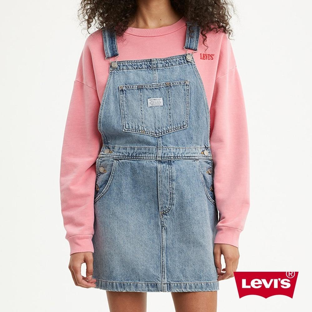Levis 女款 吊帶牛仔短裙 鈕扣穿脫 淺藍水洗
