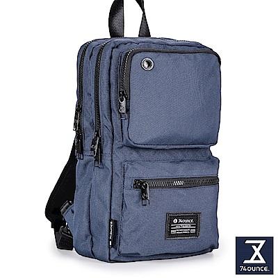 74盎司 Life 雙口袋設計尼龍胸包[G-1000]藍