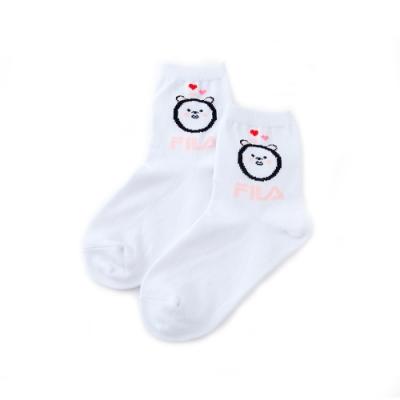 FILA 造型薄底短襪-白 SCU-5302-WT