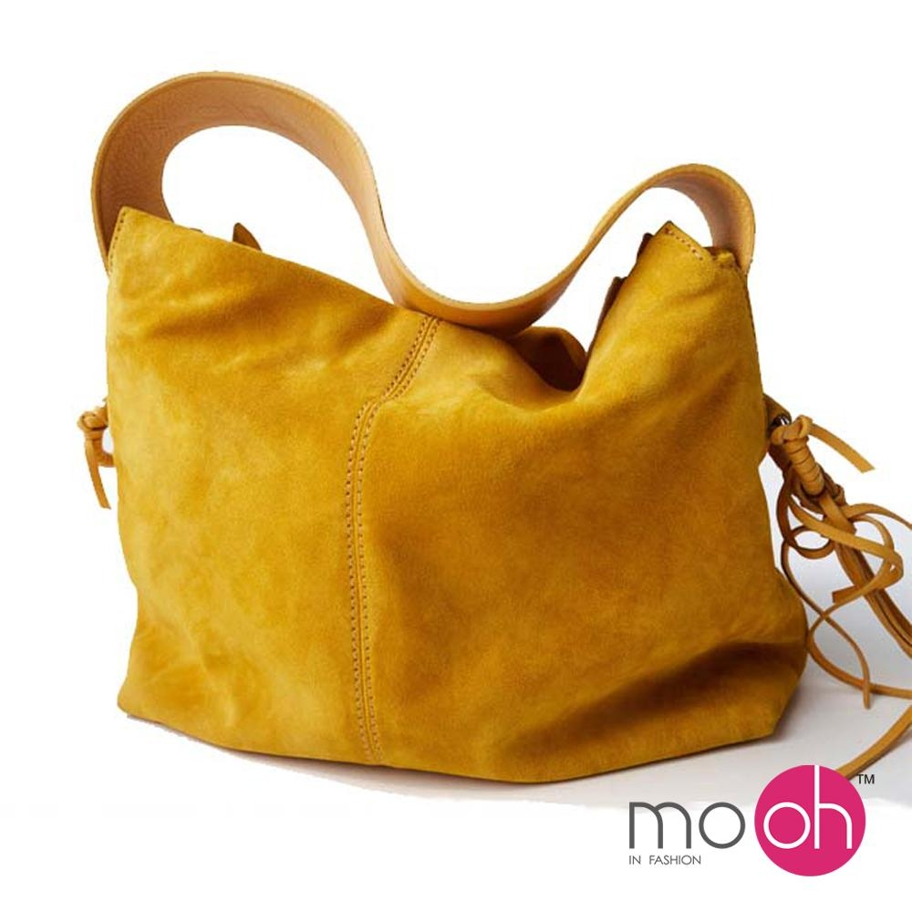 mo.oh-磨砂絨寬帶流蘇肩背包-黃色