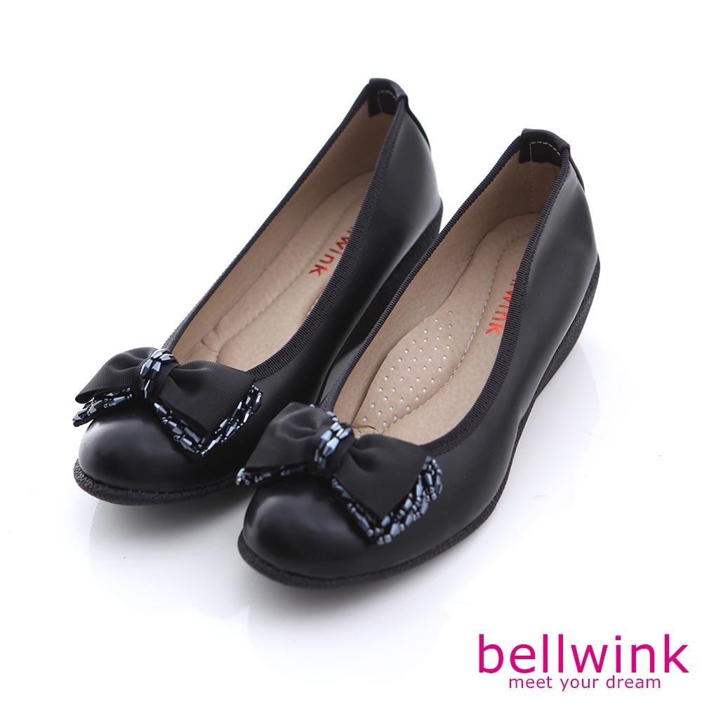 bellwink-圓頭緞面朵結平底鞋-黑-b1002bk