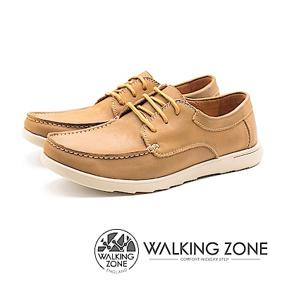 WALKING ZONE 綁帶式 透氣皮革 男鞋-棕(另有藍)