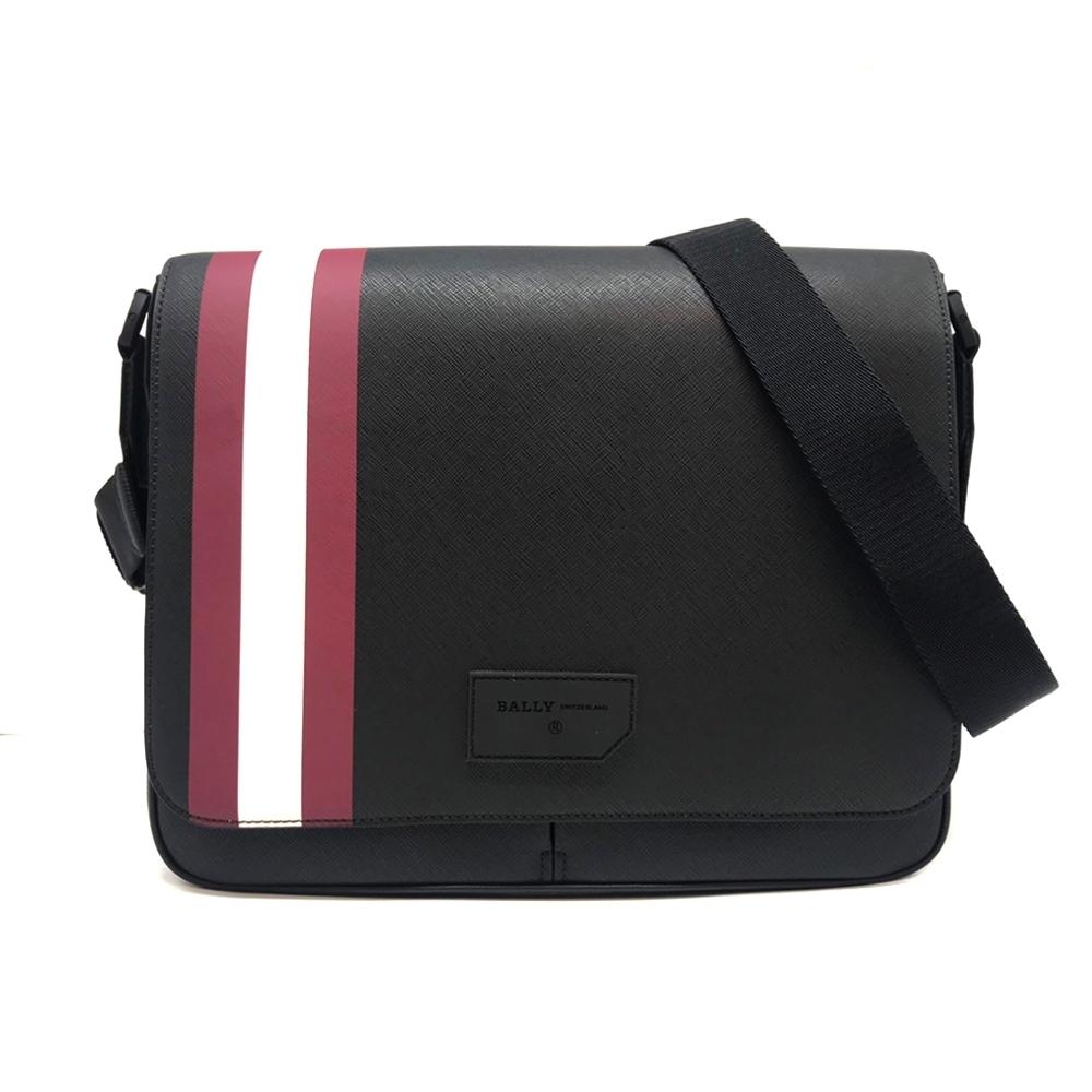 BALLY STRAD 防刮牛皮紅白條紋黑色掀蓋式斜背包