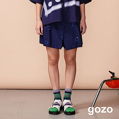 gozo 戒指刺繡圖標前片式褲裙(二色)