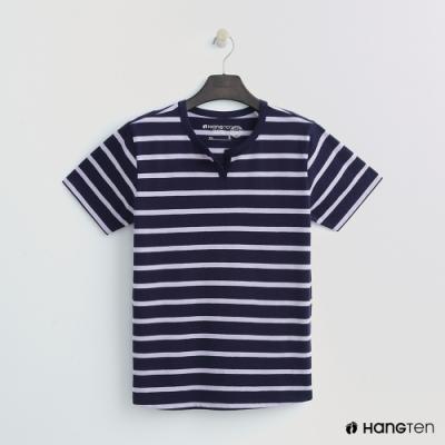 Hang Ten - 女裝 - 有機棉-簡約小開襟T桖 - 藍