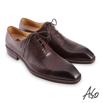 A.S.O 職場通勤勁步健康綁帶牛津紳士鞋-深咖啡