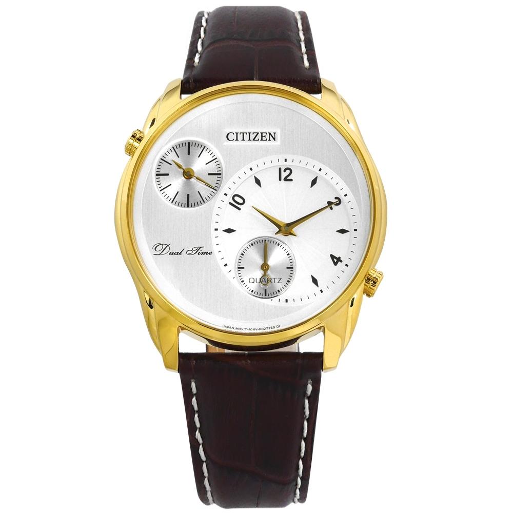 CITIZEN 簡約商務 雙時間顯示小牛皮手錶(AO3032-02A)-白x金框x深紅棕/44mm