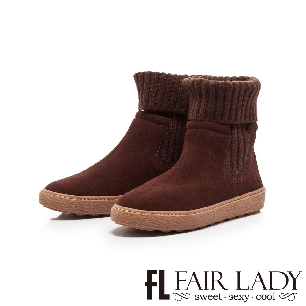 【FAIR LADY】針織襪套拼接厚底中筒靴 咖