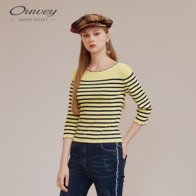 OUWEY歐薇 粉嫩條紋縲縈七分袖上衣(黃)