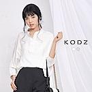 東京著衣-KODZ 歐美知性側腰縮口修身設計襯衫-S.M(共二色)